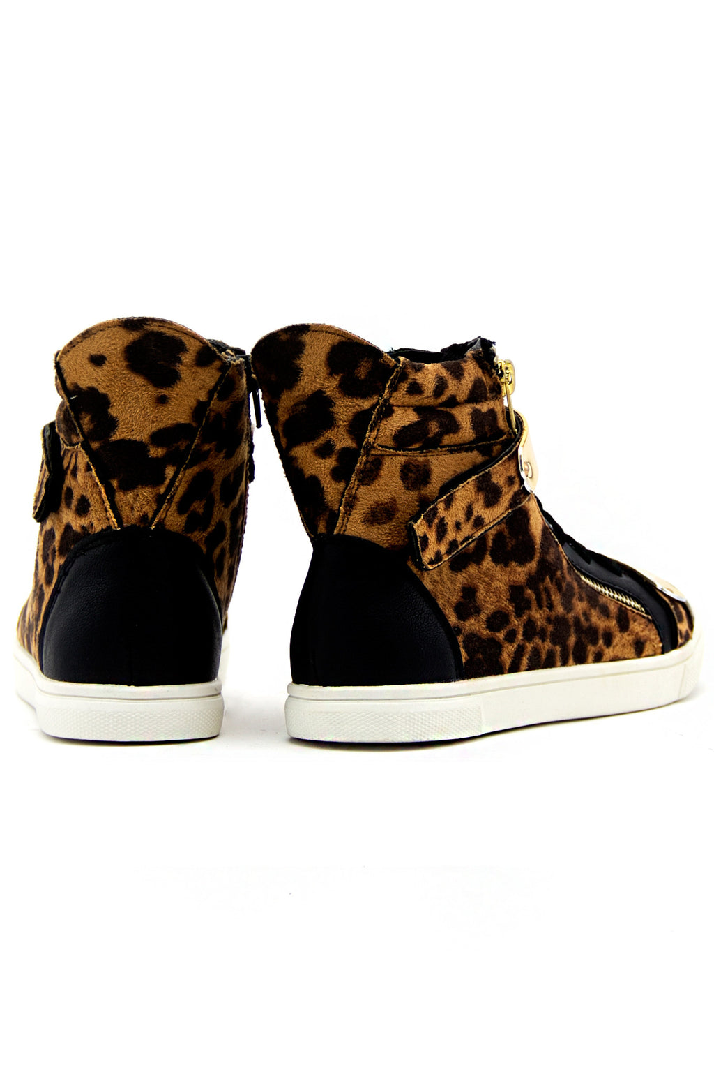 ROXANNE GOLD PLATED LEOPARD SNEAKER - Brown - Haute & Rebellious