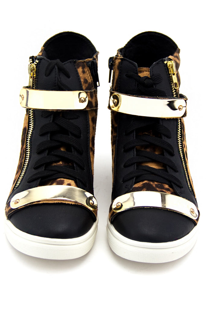 ROXANNE GOLD PLATED LEOPARD SNEAKER - Brown