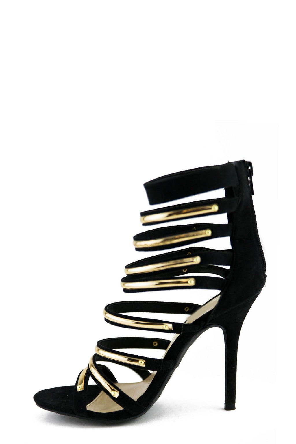 LAIN PLATED STRAPPY SANDAL HEEL - Black - Haute & Rebellious