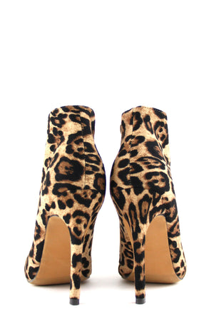 High Heel Plated-Toe Leopard Bootie - Haute & Rebellious