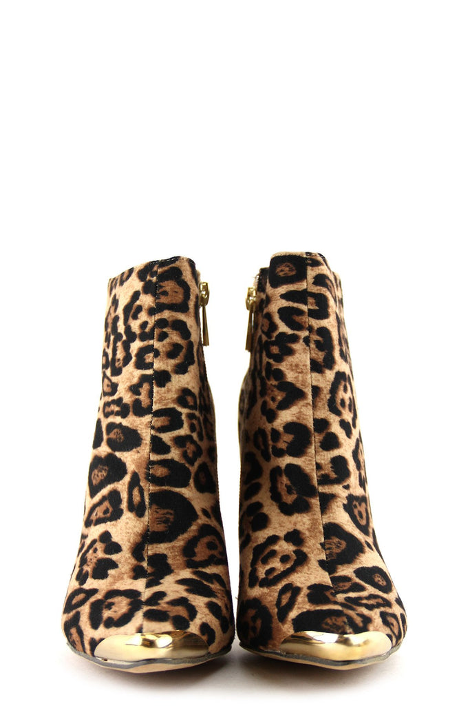 High Heel Plated-Toe Leopard Bootie