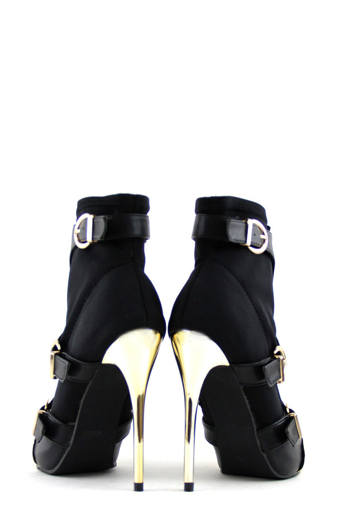 Gold Plated Closed-Toe Heel - Black