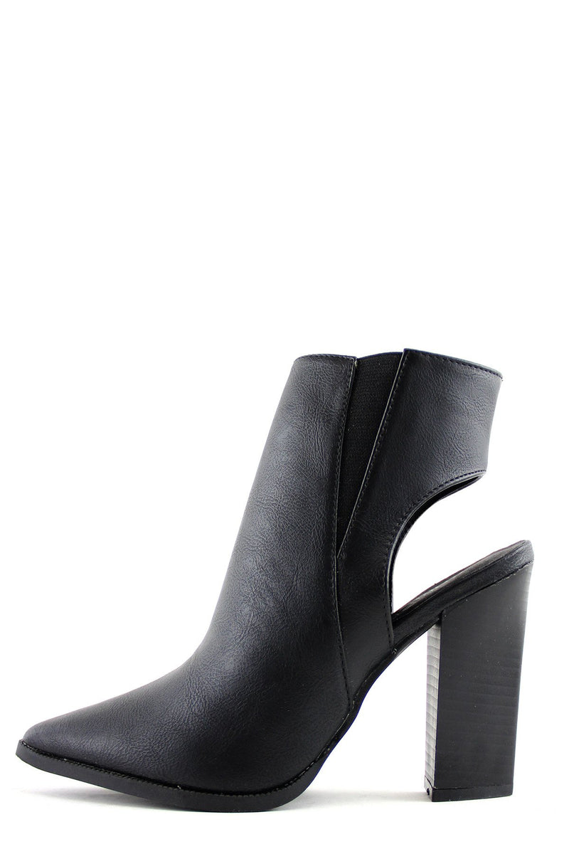 Chunky Heel Cutout Boot - Black - Haute & Rebellious