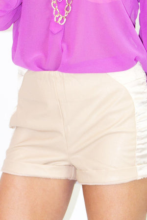LEATHER SHORTS WITH CONTRAST - Beige (Final Sale) - Haute & Rebellious