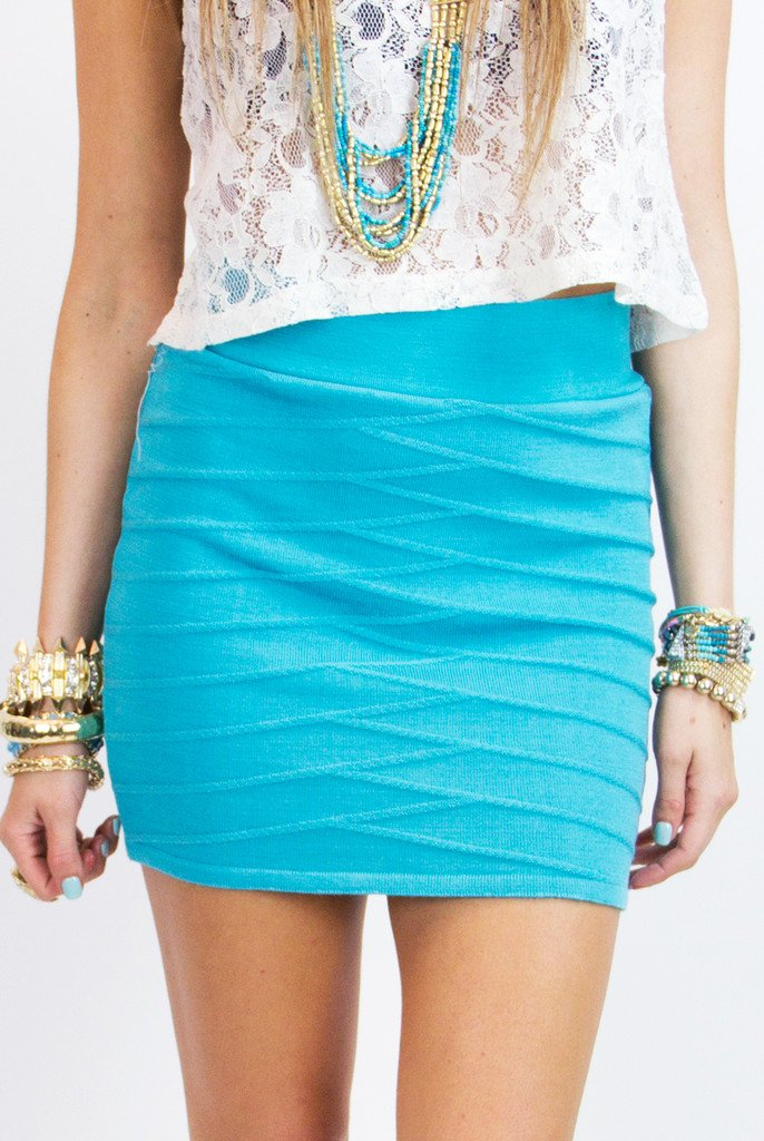 BANDAGE MINI SKIRT - Aqua (Final Sale)