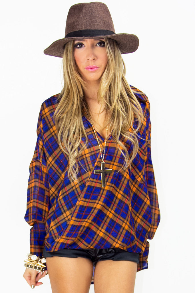 PLAID CHIFFON BLOUSE - Blue Print