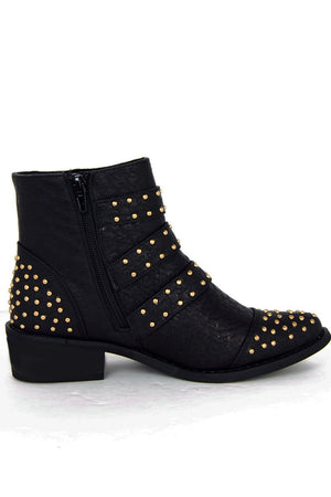 MARA GOLD STUDDED BUCKLE ANKLE BOOT - Haute & Rebellious