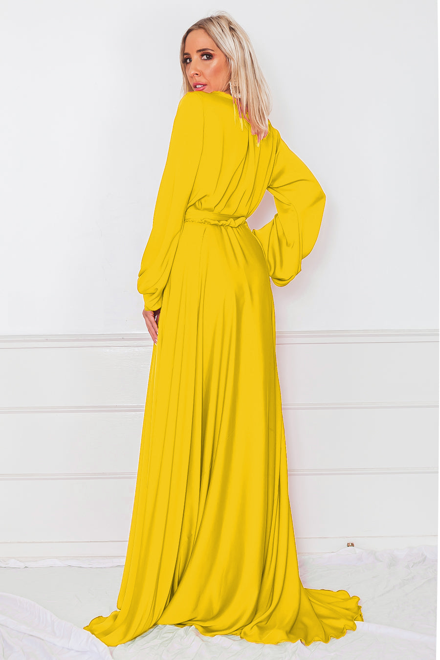Deep-V Satin Maxi Dress - Yellow