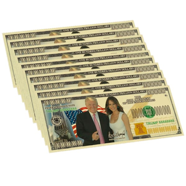 10 Pack: Gold Plated Donald And Melania Trump Commemorative Bank Notes In Currency Holders