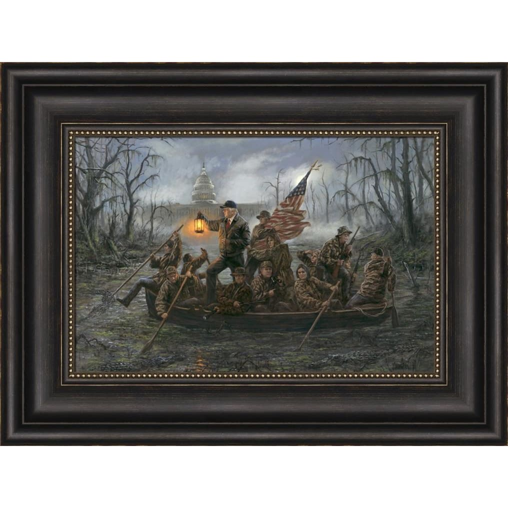 Crossing the Swamp 10 x 15 Framing Options - Bronze Frame With Bead (Option 1)