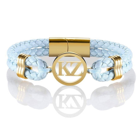 Baby Blue Leather Bracelet Gold