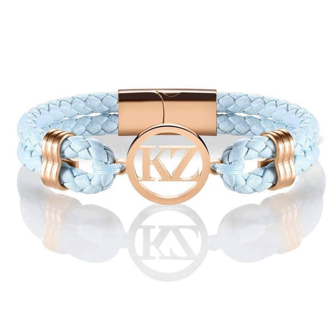 Baby Blue Leather Bracelet Rose Gold