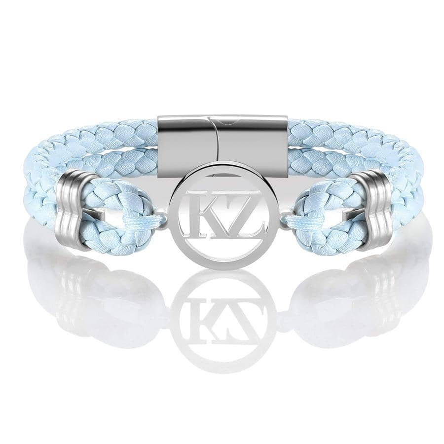 Baby Blue Leather Bracelet Steel