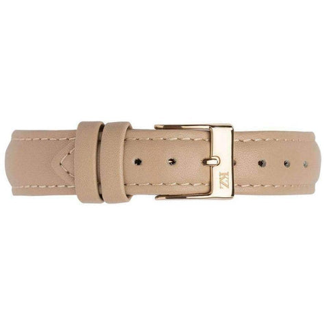 Beige Leather Strap Gold
