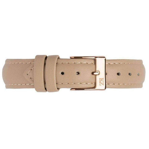 Beige Leather Strap Rose Gold