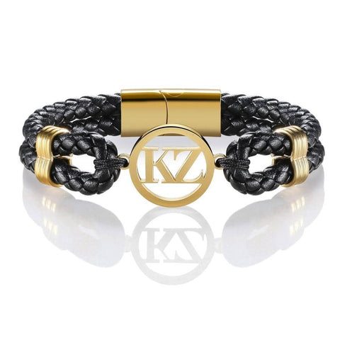 Black Leather Bracelet Gold