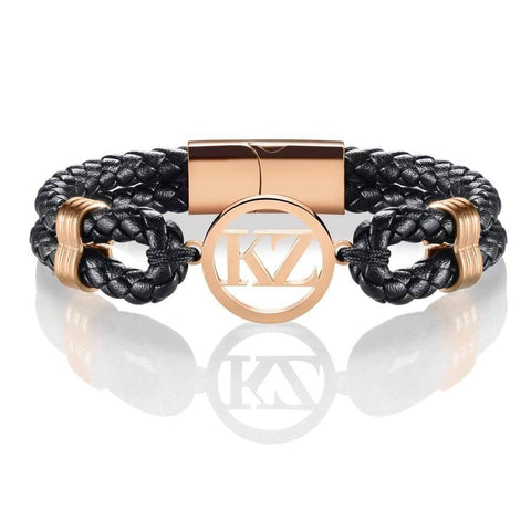 Black Leather Bracelet Rose gold