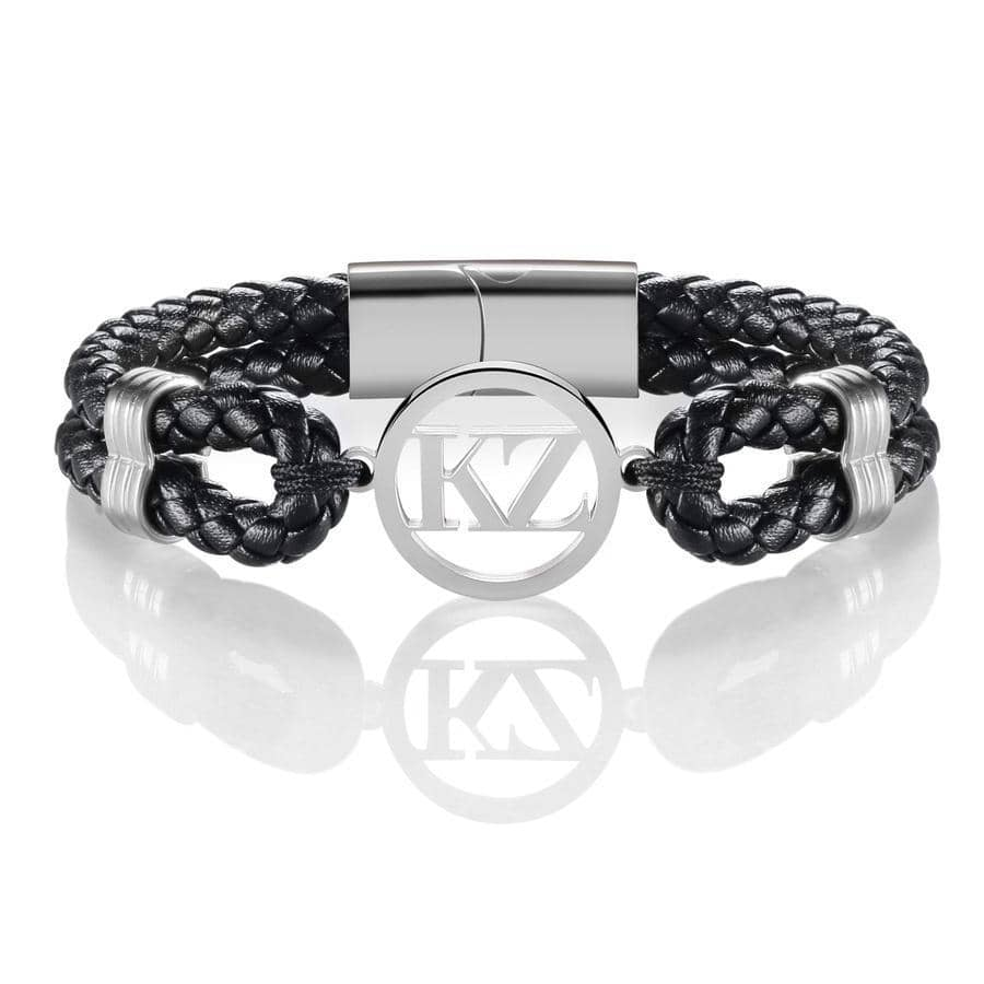 Black Leather Bracelet Steel