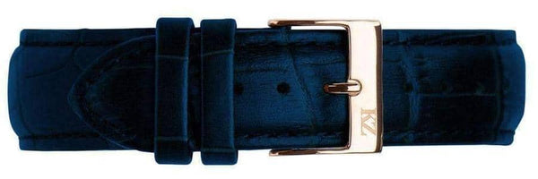 Blue Crocodile Leather Strap Rose Gold