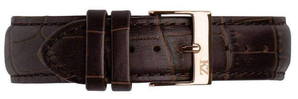 Brown Crocodile Leather Strap Rose Gold