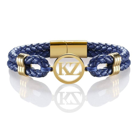 Dark Blue Leather Bracelet Gold