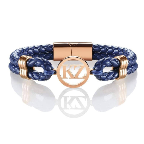Dark Blue Leather Bracelet Rose gold