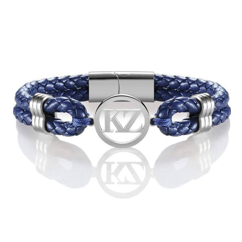 Dark Blue Leather Bracelet Steel