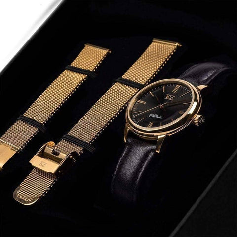 Gold Petite Watch Black