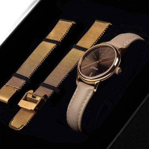 Gold Petite Watch Brown