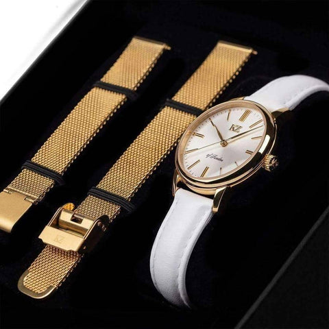 Gold Petite Watch  White