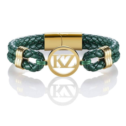 Green Leather Bracelet Gold