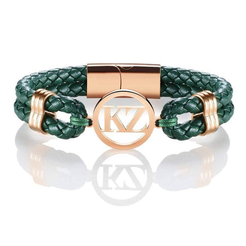 Green Leather Bracelet Rose Gold