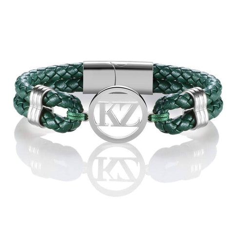 Green Leather Bracelet Steel