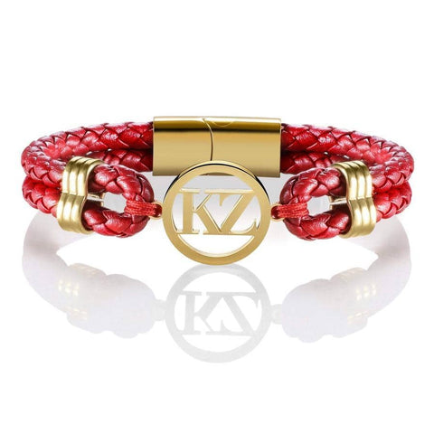 Red Leather Bracelet Gold