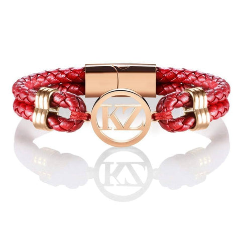 Red Leather Bracelet Rose gold