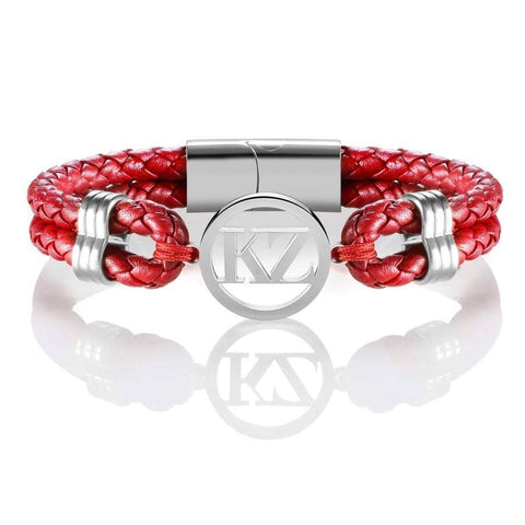 Red Leather Bracelet Steel