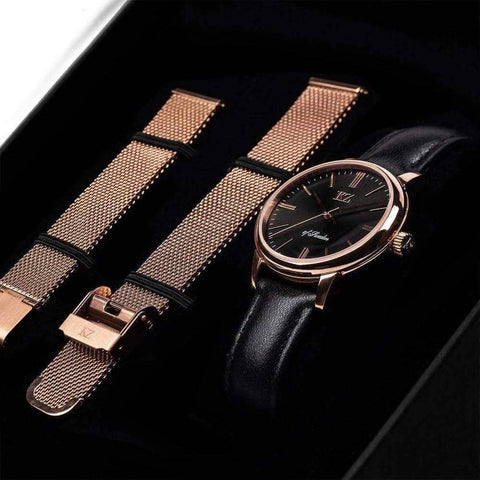 Rose Gold Petite Watch Black