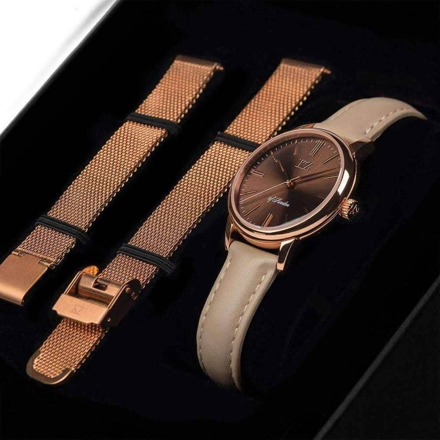 Rose Gold Petite Watch Brown