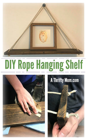 DIY Rope Hanging Shelf