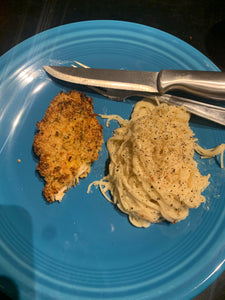 Super quick air fryer panko crusted chicken with garlicky creamy angel hair pasta