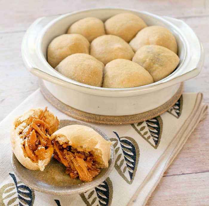 These BBQ Jackfruit Stuffed Potato Rolls are made with white whole wheat flour and gets its moisture from the lovely Idaho® Potato