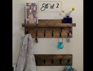 SET of 2: Coat Rack WITH and WITHOUT Shelf | Entryway Organizer Towel Rack Key Hooks Wall Mounted Catch All Leash Holder Rustic Modern by DistressedMeNot