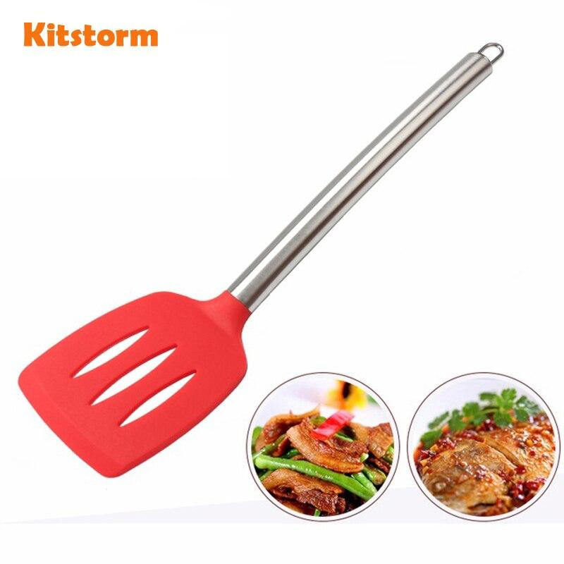 2016 New Stylish Silicone Slotted Turners Kitchen Utensils / Long Stainless Steel Handle & Non-stick Turner