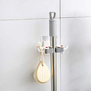 YOEDAF 1PC Mop Broom Holder, Free Punching Mop Rack Wall Hanging Mop Hook Seamless Universal Rack Wall Mounted Hanger Broom Holder for Kitchen Bathroom(White)