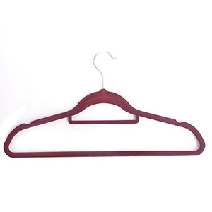 Alightup Premium Quality Flocking Velvet Hangers (Set of 20) - Ultra Thin Anti-Slip Velvet Clothes Suit Hangers - with Bonus Accessory Bar - Space Saving Clothes Hangers - Wine Red