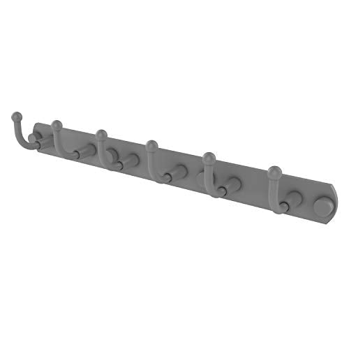 Allied Brass 1020-6 Skyline Collection 6 Position Tie and Belt Rack Decorative Hook, Matte Gray