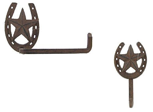 Cast Iron Star Horseshoe Towel Holder and Single Wall Hook - Set of 2