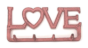"BG Home Collections Key Holder. Wall Mount Key Hook. Rustic Western Cast Iron Hanger - With Screws and Anchors. Measures: 11"" x 6"" (LOVE, Pinkwashed Cast Iron)"