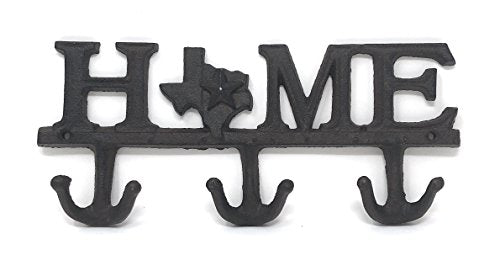 "BG Home Collections Key Holder. Wall Mount Key Hook. Rustic Western Cast Iron Hanger - With Screws and Anchors. Measures: 11"" x 6"" (HOME, Rust Brown Cast Iron)"