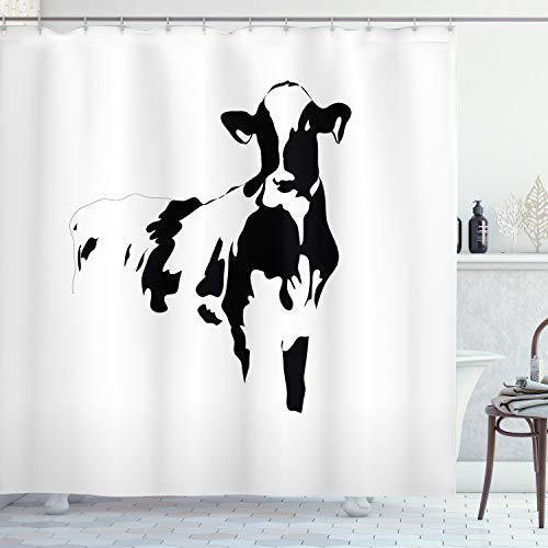 Ambesonne Farmhouse Decor Collection, Silhouette Portrait of a Big Cow Meat Milk Farm Animals Agriculture Themed Image, Polyester Fabric Bathroom Shower Curtain, 84 Inches Extra Long, Black and White